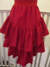 Red vintage 80s ra ra skirt 8 10 tiered rara midi knee length high waisted party