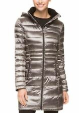 Andrew Marc Women's Long Down Hood Packable Jacket Gray Granite- Size Small