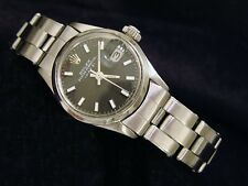 Vintage Rolex Date Ladies Stainless Steel Watch Oyster Bracelet Black Dial 6516