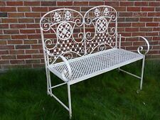UK-Gardens Cream Ornate Metal 2 Seater Garden Bench - Folding