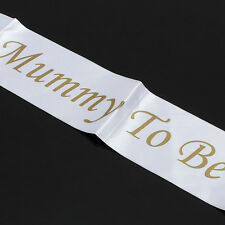 "Baby Shower Party Favor ""MUMMY TO BE""  White Satin Sash Banner Ribbon Accessory"