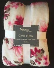 Suave Cálido Y Acogedor Marrón y Crema Floral Rosa Peluche Manta Decoración del hogar