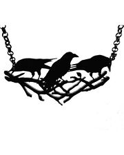 Curiology Gothic Goth Occult A Murder of Crows Necklace Acrylic Black Corvus