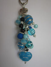 Keyring / Bag Charm - Black & Blue Valentine Heart & Bead Cluster - I Love You