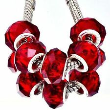 5Pcs Silver Plating Red CZ Glass Large Charm Beads March Bracelet Free Shipping