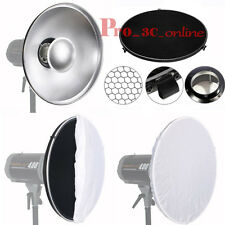42cm Beauty Dish Bowens Mount Fit Silver Interior Honeycomb Grid Diffuser UK