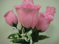 "3 Bushes LITE PINK Rose Buds Artificial Silk Flowers 13"" Bouquet 6-599LPK"