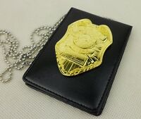 Resident Evil Stars Dep Raccoon Police Golden Badge& Badge ID Holder Card Holder