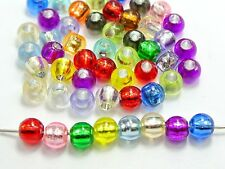 200 Mixed Color Silver Foil Hole Pony Round Beads 8X6mm for Kandi Bracelet Craft