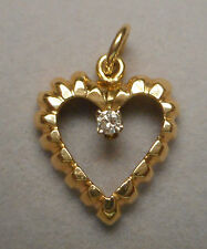 Estate Pendant - 14K Yellow Gold Open Fluted Heart w/ 10 Point Diamond 1.6g