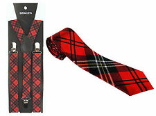 Tartan Braces + Red Tie Scottish Fancy Dress 70s Punk Nerd