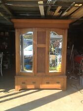 Vintage Edwardian English Oak Wardrobe