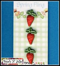 Spring Fling CARROTS - Garden Vegetable Patch Rabbit Food Novelty Craft Buttons