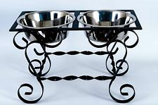 """13"""" Wrought iron 2 bowl elegant dog feeder stand elevated made in USA"""