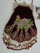 Victorian Edwardian Vintage Old West style beaded velvet handbag bag reticule