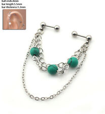 NEW !! Industrial Bar Ear Body Jewellery Tassel Turquoise Stone Piercing. UK