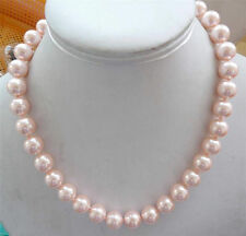 10mm round natural pink South Sea pearl shell necklace 18""