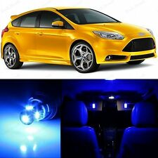 9 x Ultra Blue LED Interior Lights & Plate Package For 2012 - 2015 Ford Focus
