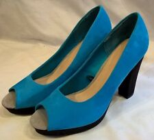 NEW H&M blue peep toe faux suede high block heel shoes UK 5 EUR 38