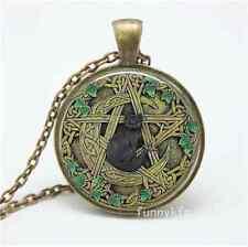 Vintage Kitten bat Cabochon Bronze Glass Chain Pendant Necklace New  0115
