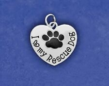Rescue Dog Charm Pendant Sterling Silver Pl Paw Print I Love My Heart Puppy Mom