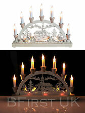 Christmas Workshop 10 LED Wooden Battery Operated Candle Bridge White Light Xmas
