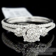 Ladies 10K White Gold Genuine Diamond Engagement Ring Wedding Band Bridal Set