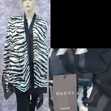 GUCCI Authentic New Designer Womens Logo Silk Chiffon Shawl Scarf Wrap 72 x 26