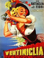 ADVERT EXHIBITION FLOWER SHOW VENTIMIGLIA ITALY GIRL SMILE NIPPLE PRINT LV803