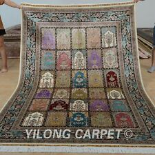 Yilong 6'x9' Handknotted Silk Perisan Carpet Four Season Family Room Rug 0735