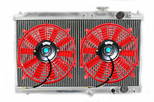 "94-01 Acura Integra DC 2 Row Aluminum Radiator Full Size M/T + 2x 12"" Fans Red"