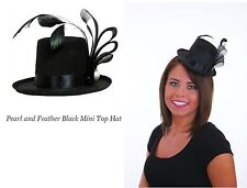 Showgirl Mini Top Hat On Headband Black Ribbon Feather & Pearl Stud Dancers Hat