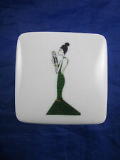 Nordstrom 2003 Art Deco Style Lady with Dog Porcelain Trinket Gift Box with Lid