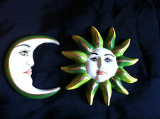 "Painted Mexican by ""Sermel"" Large Sun & Moon Masks Wall Decor"