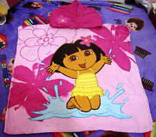 100%Cotton 120x60cm Cute Dora the Explorer Poncho Beach Bath Hooded Towel NEW
