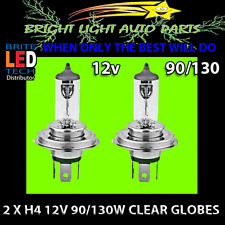 2 X H4 12V 90/130W CLEAR HALOGEN HEADLIGHT GLOBES 90W LOW AND 130W HIGH BEAM 2PC