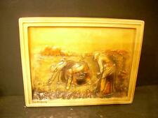 """VINTAGE """"THE GLEANERS"""" CHALKWARE WALL HANGING PLAQUE  (18)"""