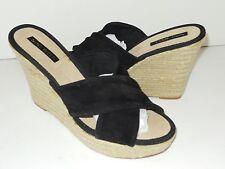 Nine West Women's Jocelyn Black Wedges Sandals Slides Platform Suede Shoes 10