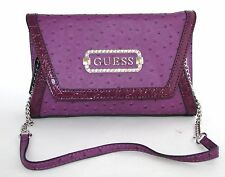 NEW GUESS MARCIANO MELINA PURPLE OSTRICH LEATHERETTE CHAIN SHOULDER HAND BAG