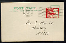 1943 Occupied Jersey Channel Island first day cover fdc  postcard 1 Pence