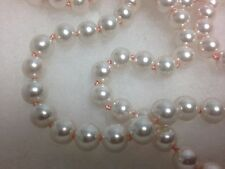 "Light Pink Faux Pearl Bead Hand Knotted 60"" Flapper Single Strand Necklace"