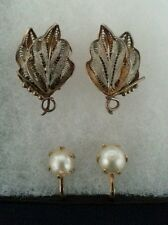 Pearl n Silver Two Pair Vintage Clip Twist on Earrings Genuine Vermeil HS