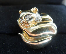 Vintage 14K Gold KLJCI Curled Cat W/ Diamond Eyes Accent Slide Charm / Pendant