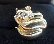 Vintage 14K Gold KLJCI Curled Cat W/ Diamond Eyes Accent Slide Charm / Pendant
