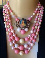 Vintage Layered Shades of Pink Pearl Necklace & Marie Antoinette Brooch Lot