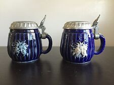 Fine Miniature German Steins Metal Lidded Blue PAIR SET of TWO 2 Salt Cellars NR