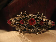 Vintage Art Deco Coat Pin, Brooch, Broach With Beautiful Red Stones