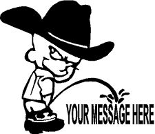 CALVIN W/COWBOY HAT PEEING ON YOUR MESSAGE DECAL #1481,CALVIN DECAL,CUSTOM