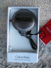 CALVIN KLEIN SILVER LEATHER KEY FOB/KEY RING WITH MIRROR **BRAND NEW***