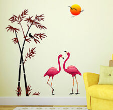 Wall Stickers Wall Decals Pink Flamingos & Bamboo at Sunset  6996